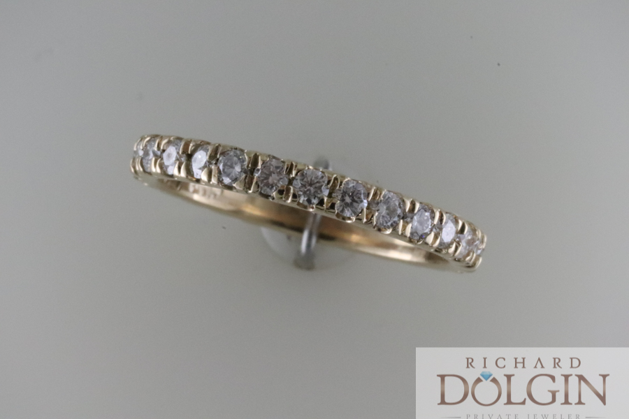 All diamond yellow gold band