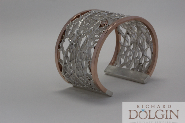 Silver cactus pattern bracelet with rose gold