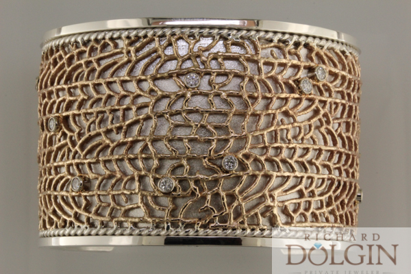 Fan coral bronze and silver bracelet