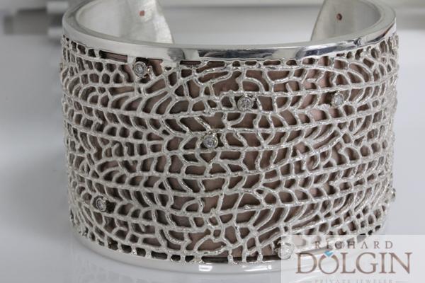 Fan coral silver over bronze bracelet