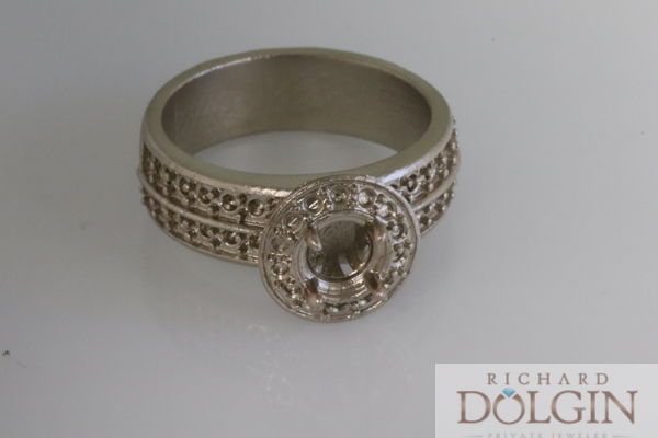 Rough casting in 14k white gold