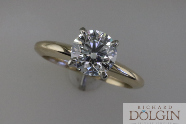 Solitaire yellow gold diamond engagement ring