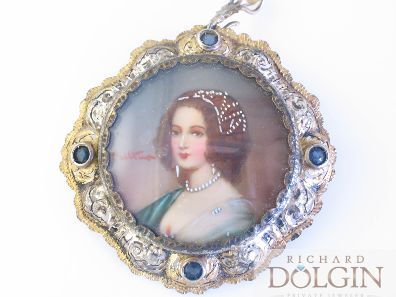Painted Cameo Victorian brooch