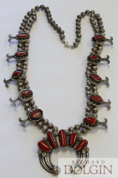 Squash blossom necklace with coral