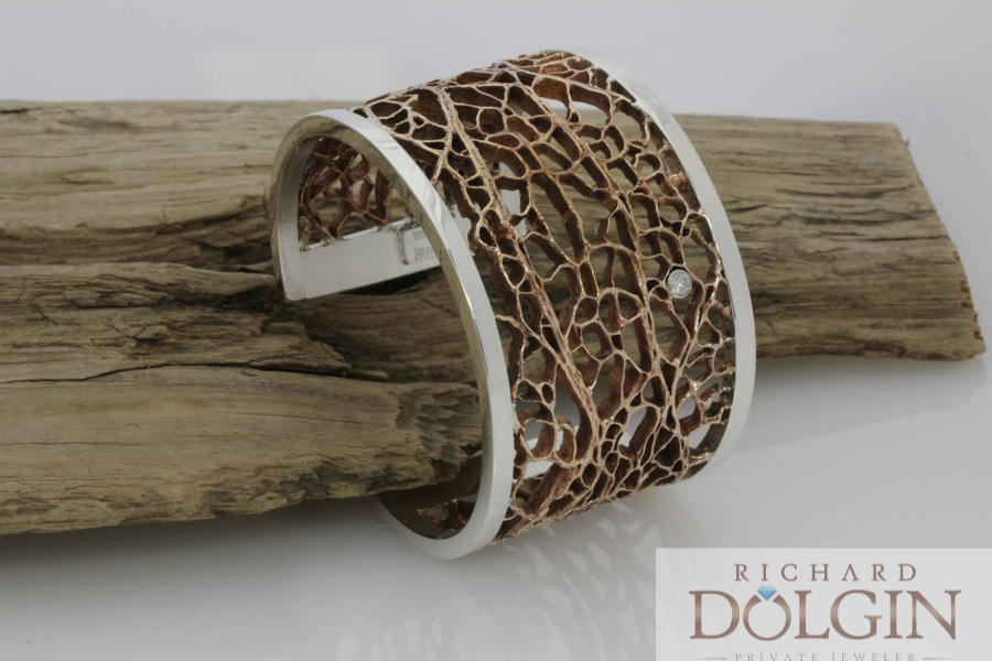 Cactus pattern bronze and silver bracelet