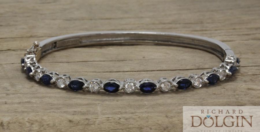 Sapphire and diamond hinged bangle