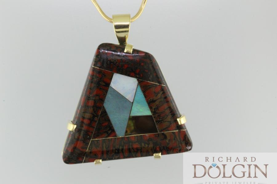 Intarsia mosaic pendant