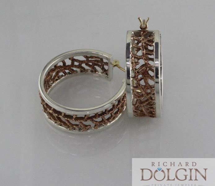 Cactus pattern hoop earrings in bronze and silver