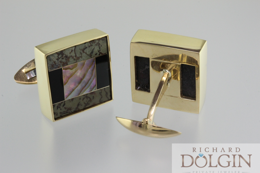 Dinosaur bone, black onyx and mother of pearl cuff links in 18k gold