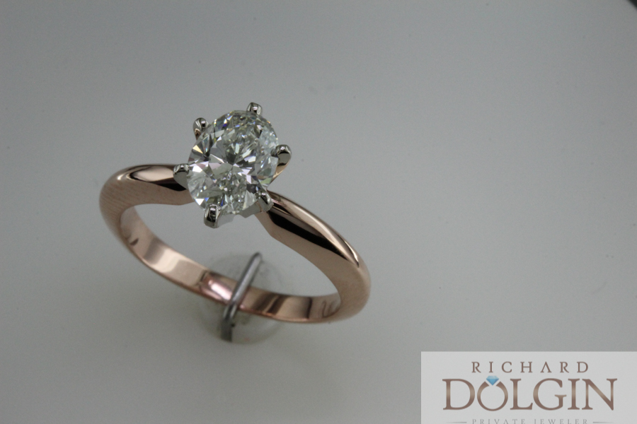 Oval shape solitaire in rose gold
