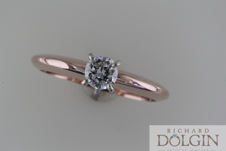 Round solitaire in rose gold