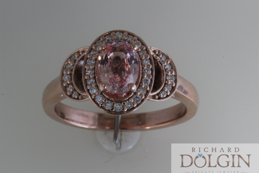 Peach sapphire in rose gold engagement ring