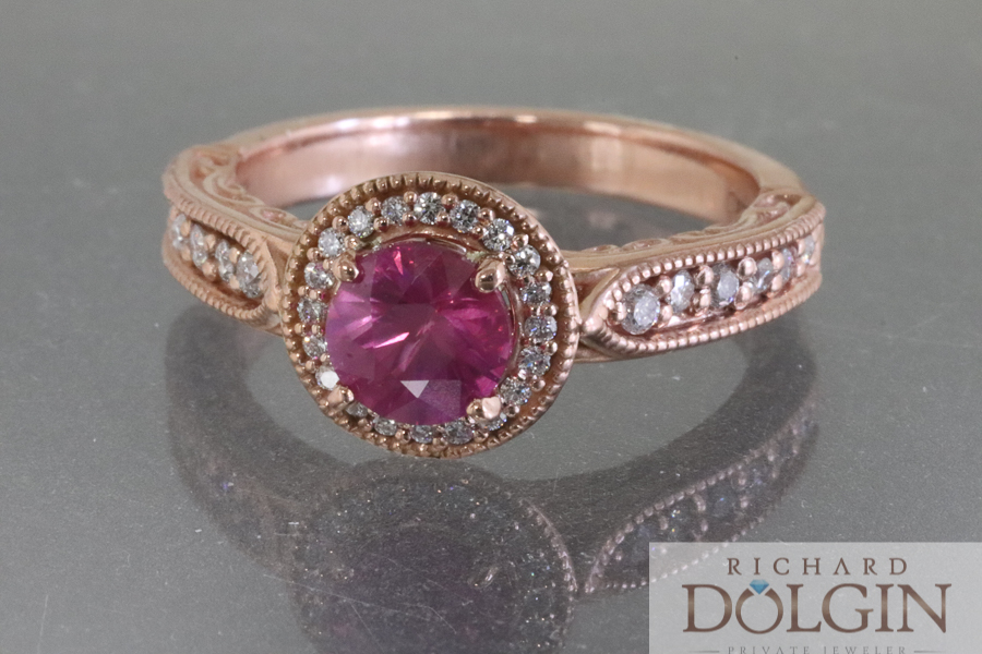 Pink sapphire set in rose gold engagement ring