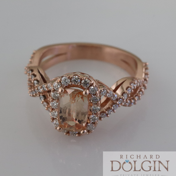 Peach sapphire in rose gold ring