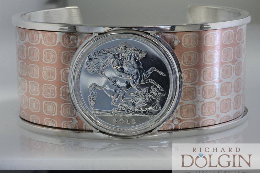 Dragon coin on Mokume Gane bracelet