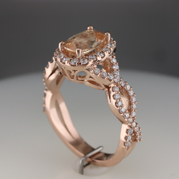 Peach Sapphire set in Rose Gold