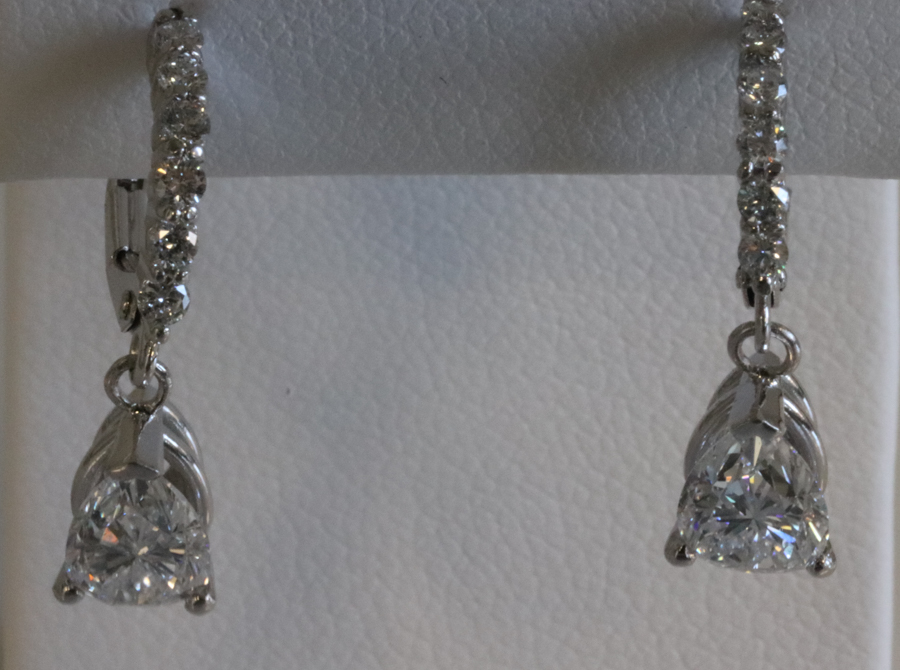 Pear shape diamond dangle earrings