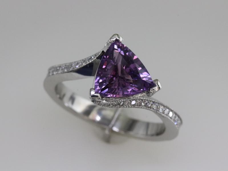 Purple Sapphire Set in Platinum