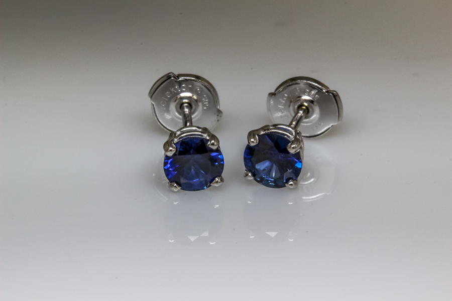 Sapphire solitaire earrings
