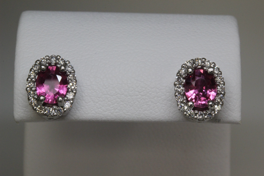 Oval pink sapphire earrings