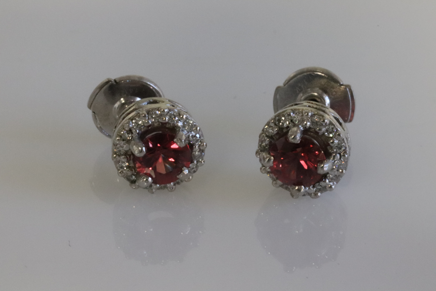 Red sapphire earrings