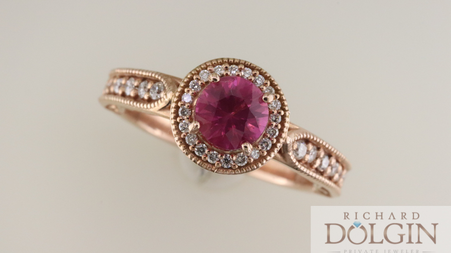 Pink sapphire in rose gold ring