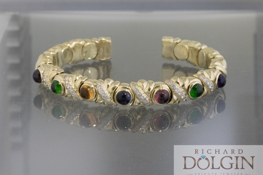 18k gold bracelet with diamonds and color sapphires