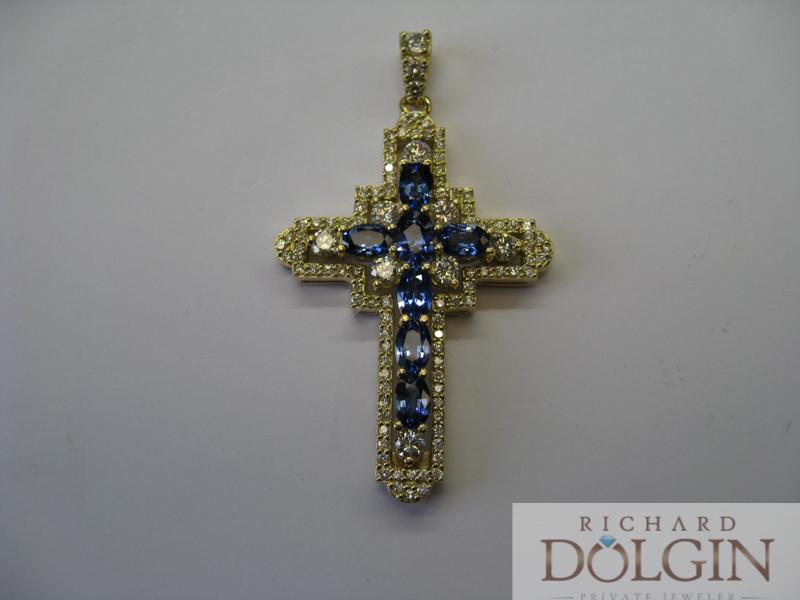 Sapphire and diamond cross