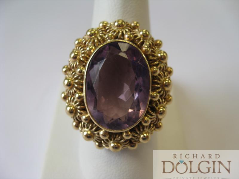 Amethyst antique ring