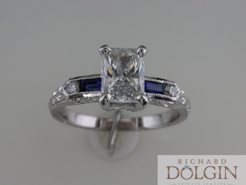 Radiant cut antique style ring