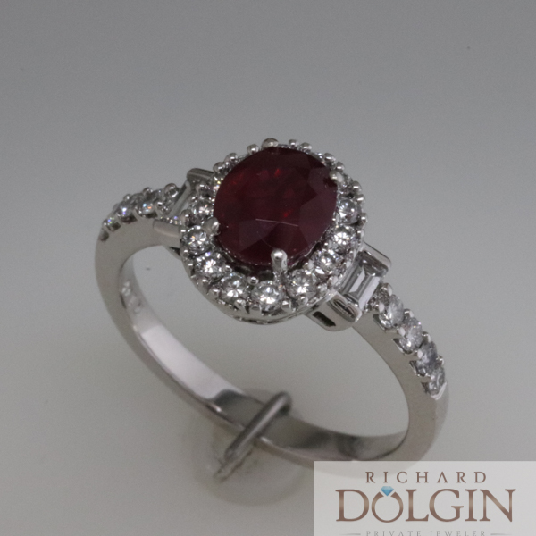 Ruby ring with diamond baguette accents