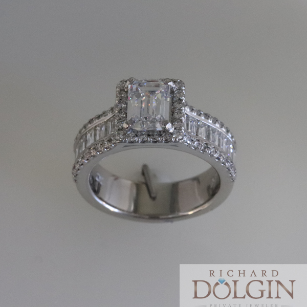 Diamond wedding ring with baguettes