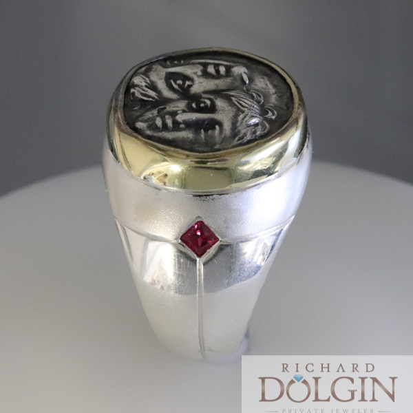 Silver gents ring featuring Greek Drachma