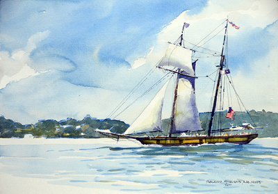 1812 Sloop (2014) 24 x 30 inches - Framed