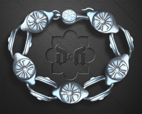 D&A cross link bracelet design and rendering video.