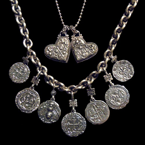 Sterling coin pendants and silver spanish heart pendant by Demian and Alex D&A.