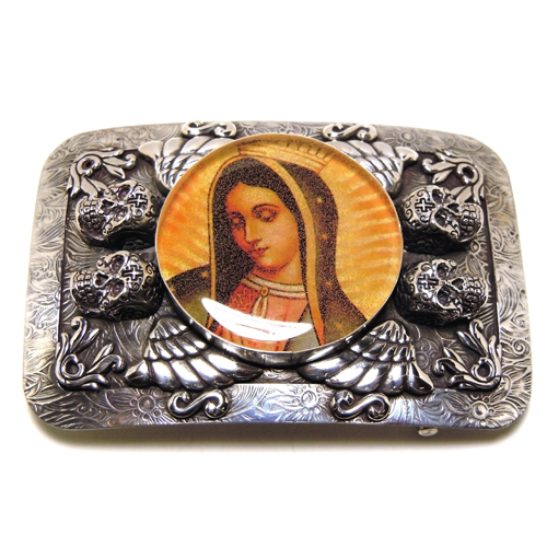 Sterling Silver Virgin Mary Belt Buckle by Demian & Alex
