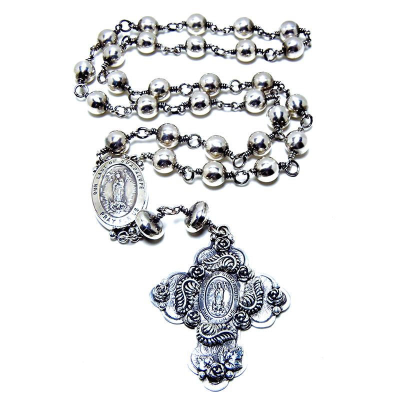 Rosaries:   Sterling silver and semi-precious stones.