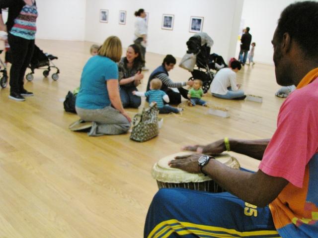 02_Danny drumming next to Nnenna Okore's artwork (640x480).jpg