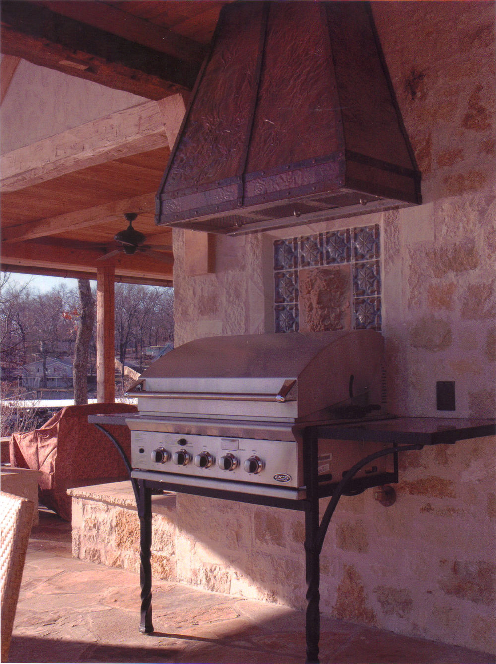 Welch Estate Grand Lake, OK  Custom forged BBQ Grill Stand and Copper Vent Hood
