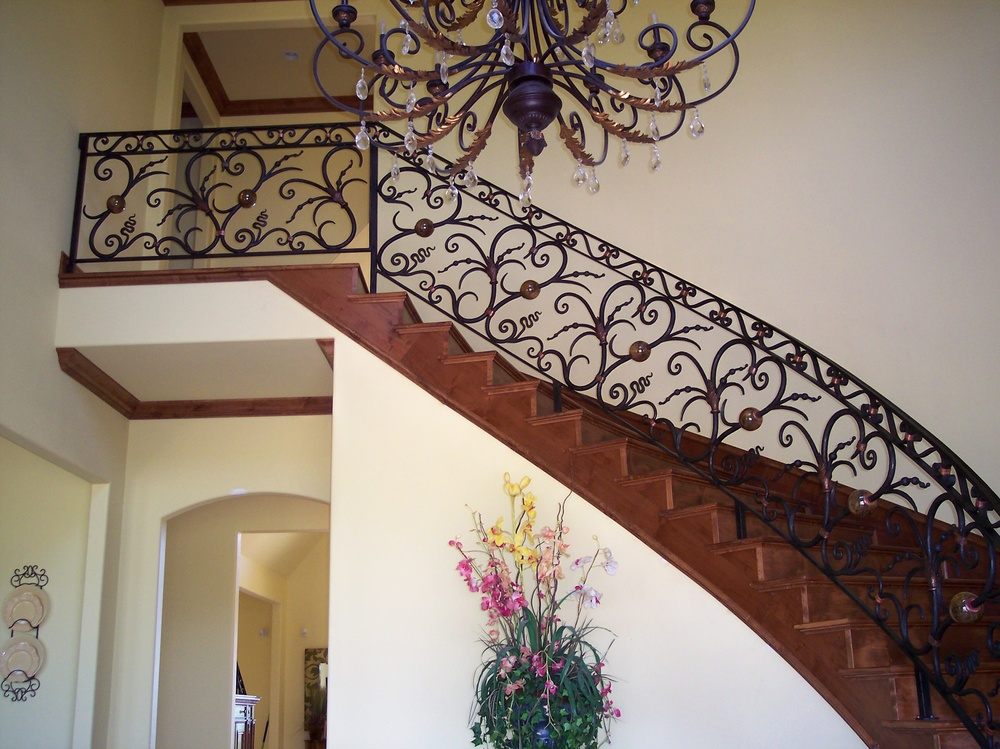 Parker Family Estate Joplin, MO Forged Railing with Blownglass Balls and Copper Leafs