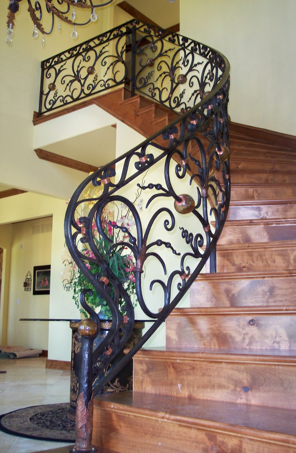 Parker Estate Joplin, MO  Forged Railing with Blownglass Balls and Copper Leaves