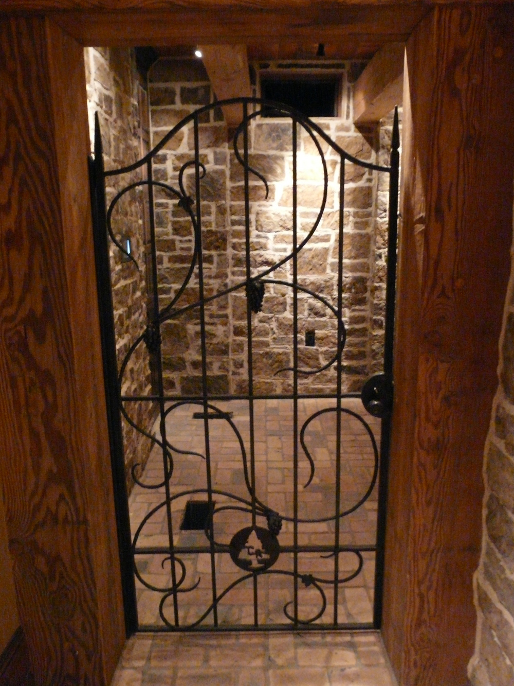 Shannon Estate Shell Knob, MO Wine Cellar Gate with Hand Forged Grape Clusters