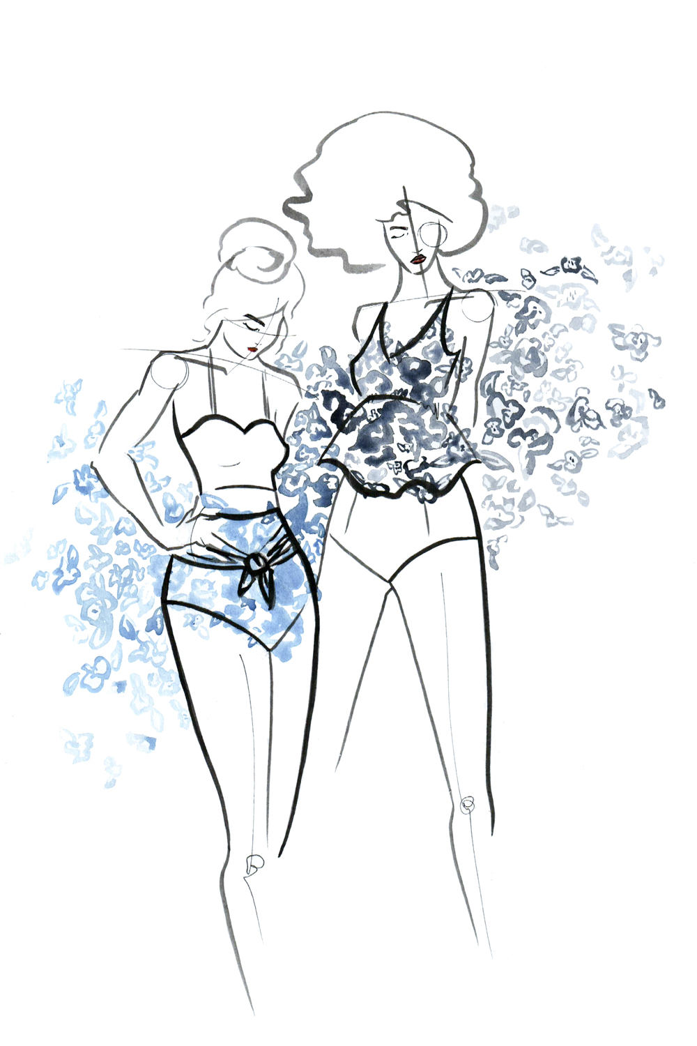 Kortni Jeane Blue Floral and Black and White Floral Swimsuit illustrated by Victoria-Riza
