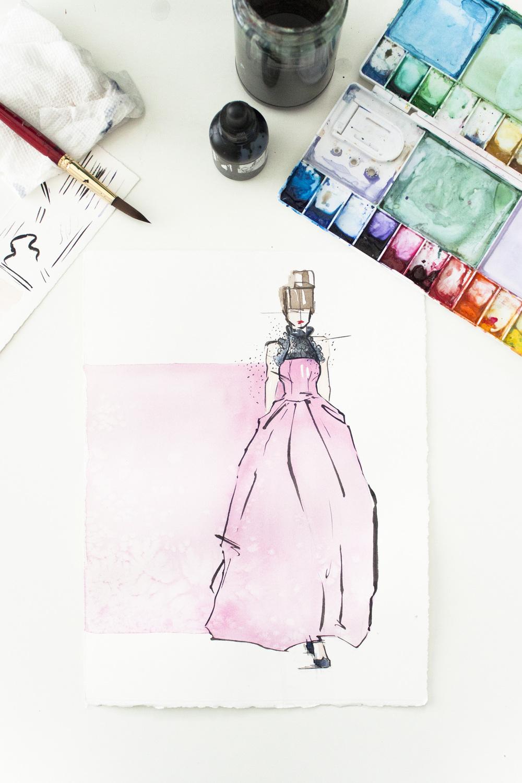Victoria-Riza | Fashion Illustrator | Valentine Look No. 3 | Oscar de la Renta Spring 2016