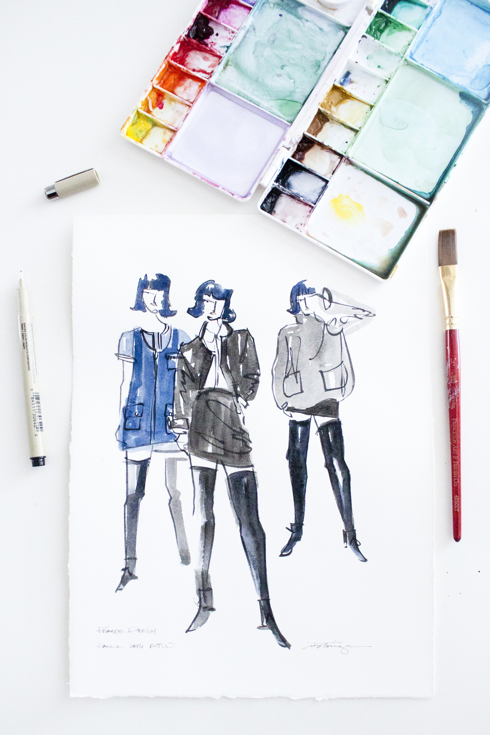 Victoria-Riza Fashion Illustrator | Frame Denim Fall 2016 RTW | New York Fashion Week