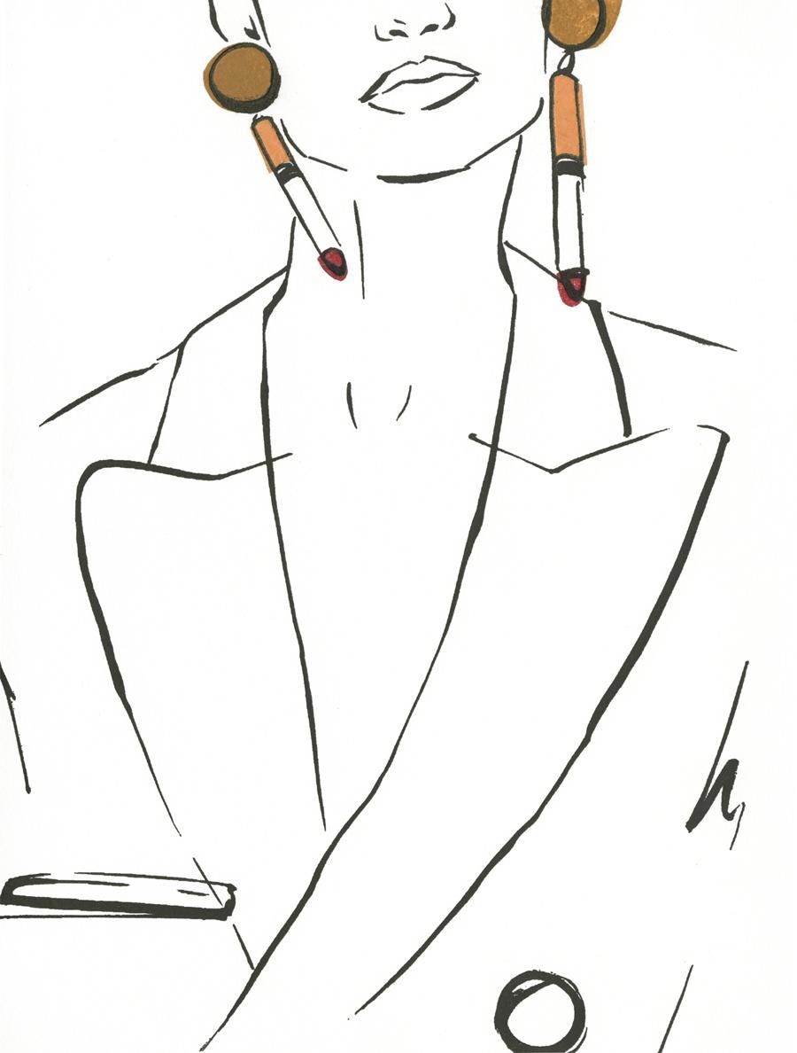 Victoria-Riza Fashion Illustrator | Letterpress Print | Moschino Cigarette Earrings Fall 2016 RTW