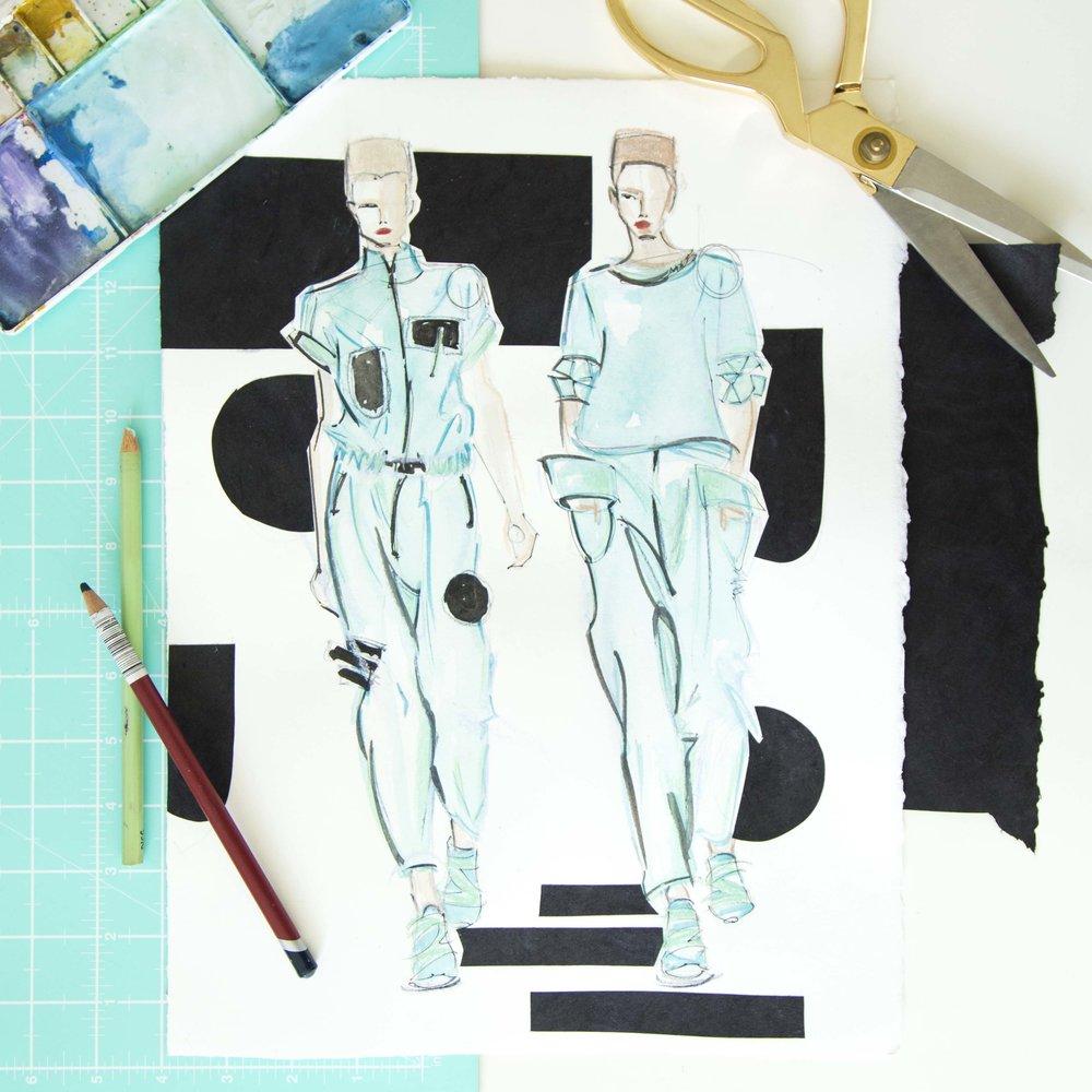 Victoria-Riza | Fashion Illustrator | Y-3 Menswear 2017