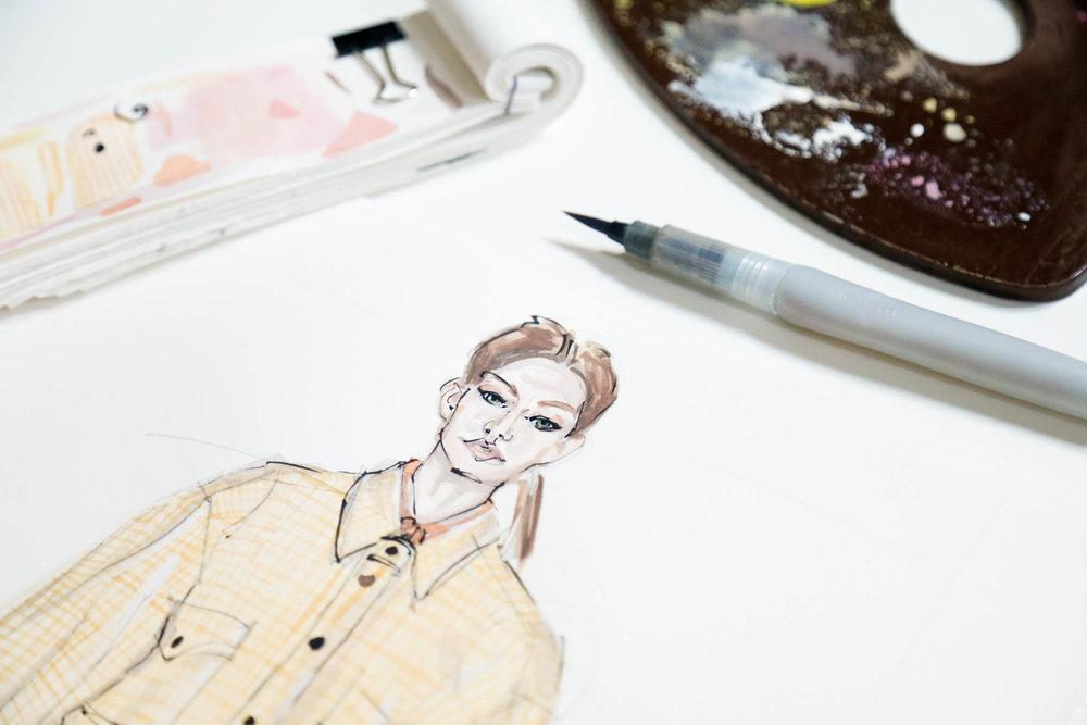 Victoria-Riza Fashion Illustrator | Victoria Beckham Spring 2018 RTW