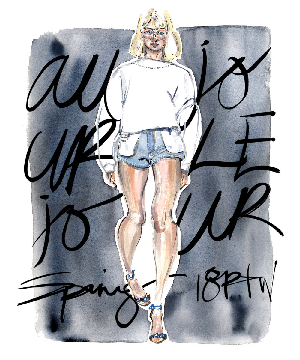 This is illustration is based off of the Au Jour Le Jour Spring 2018 Ready-to-Wear  collection . It was created on 140 lb Arches hot press watercolor paper with watercolor, gouache, and sumi ink. The handwritten type was added using Photoshop.